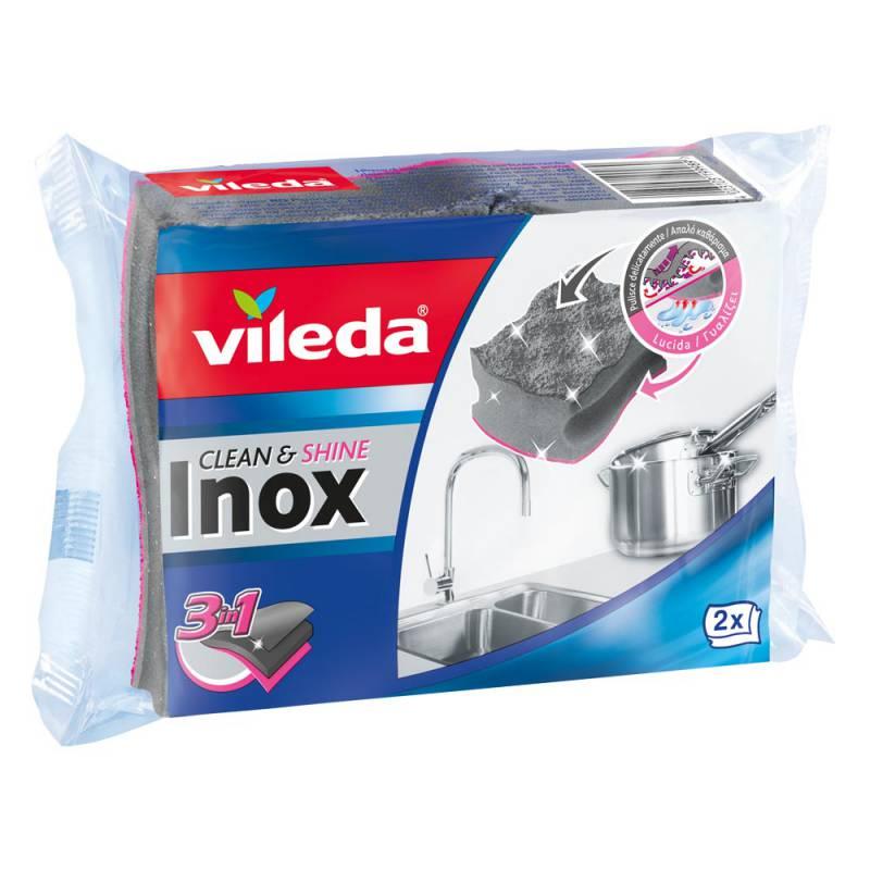 VILEDA SPUGNA INOX CLEAN E SHINE 2PZ  -  ean: 4023103199989